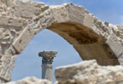 Archaeological excavation site of the ancient city of kourion, south cyprus,  Stock Photos
