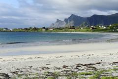 on the beach, lofoten, northern norway, norway, scandinavia, europe - stock photo