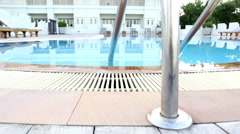 Holiday relaxing with luxury swimming pool Stock Footage