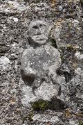 Sheela-na-gig on the church wall of killinaboy, burren, county clare, ireland Stock Photos