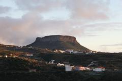 Fortaleza table mountain with villages of el cercado und chipude, la gomera,  Stock Photos