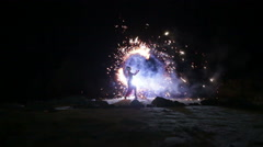 Artist turns the fireworks fire performance Stock Footage
