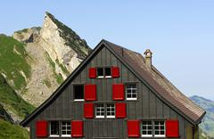 House on a mountain, rear side of the mesmer mountain inn, weissbad, alpstein Stock Photos