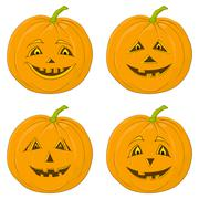 pumpkin jack o lantern, set - stock illustration