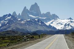mt fitz roy and mt cerro torre, parque nacional los glaciares, los glaciares  - stock photo