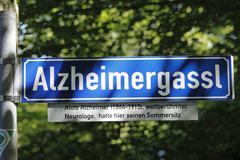 Street name alzheimergassl in honor of alois alzheimer, wessling, fuenfseenla Stock Photos