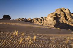 Rock formations in the libyan desert, akakus mountains, libyan desert, libya, Stock Photos