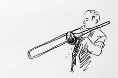 Stock Illustration of trombone player, drawing, artist gerhard kraus, kriftel, germany