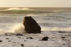Rock in the surf, waves in the atlantic, la playa, valle gran rey, la gomera, Stock Photos