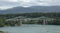 Menai bridge and straits, snowdonia, anglesey, north wales, uk Stock Footage