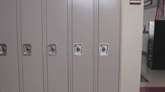 School lockers dolly to an empty classroom Stock Footage