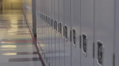 Empty school hallway with lockers dolly Stock Footage