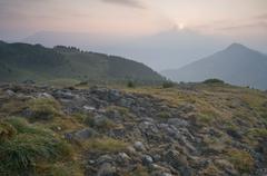Sunrise on the seiser alm, dolomites, alto adige, italy, europe Stock Photos