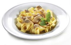 Plate of fettuccine ai funghi, pasta with mushrooms Stock Photos