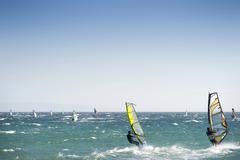Windsurfers in tarifa, costa de la luz, andalucia, spain, europe Stock Photos