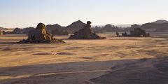 Akakus mountains, libyan desert, libya, sahara, north africa, africa Stock Photos