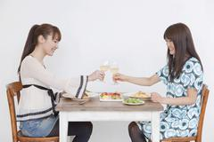 Young women eating lunch Stock Photos