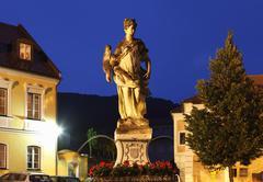 Fountain at church square, spitz an der donau, wachau, waldviertel, lower aus Stock Photos