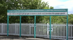 One of the longest village names in the world, llanfairpwll, anglesey, Wales Stock Footage