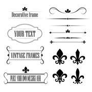 Set of calligraphic flourish design elements, borders and frames - fleur de lis Stock Illustration