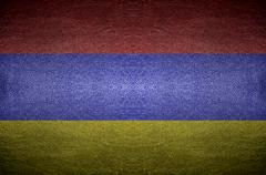 closeup screen armania flag concept on pvc leather for background - stock photo