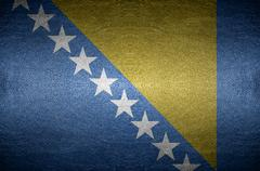 Closeup screen bosnia and herzegovina flag concept on pvc leather for backgro Stock Photos
