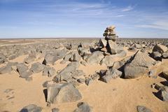 stone desert, akakus mountains, libya, sahara, north africa, africa - stock photo