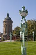 Light post, wasserturm water tower, art nouveau, friedrichsplatz square, mann Stock Photos