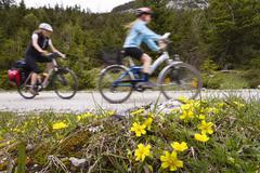 Biking tour to the origin of the isar river in hinterautal, karwendel mountai Stock Photos
