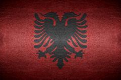Closeup screen albania flag concept on pvc leather for background Stock Photos