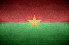 closeup screen burkina faso flag concept on pvc leather for background - stock photo