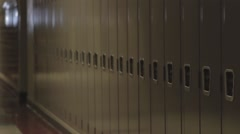 Empty school hallway with lockers dolly Stock Footage