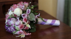 Beautiful wedding bouquet on the table Stock Footage