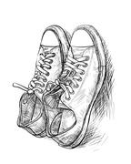 Pair of casual shoes with shade Stock Illustration