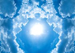 circle cloudy arround sun light on blue sky - stock photo