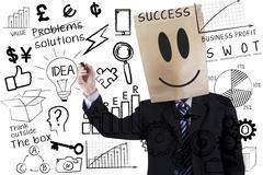anonymous businessman makes success formula - stock illustration