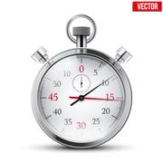 Realistic shine analog stop watch. Vector illustration. Stock Illustration