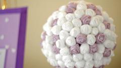 Stock Video Footage of beautiful wedding bouquet in form of a decorative ball