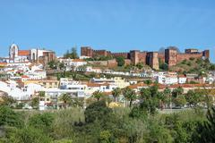 Stock Photo of Cityscape with the Moorish castle and the cathedral Silves Algarve Portugal