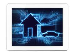 connected home and car diagram on tablet display - stock illustration