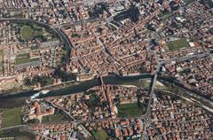 Aerial view Brenta River Bassano del Grappa Province of Vicenza Veneto Italy Stock Photos
