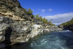Rocky gorge portion of the Abiskojakka river Abisko National Park Norrbotten - stock photo