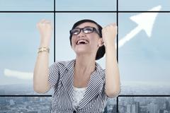 Businesswoman celebrating her achievement 2 Stock Illustration