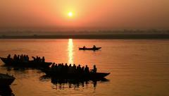 Ganga boat sunrise Stock Footage