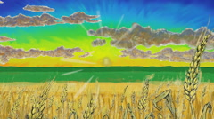 Golden fields sunrise grapich animation Stock Footage