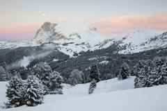 Plattkofel mountain in winter Seiser Alm Province of South Tyrol Italy Europe - stock photo