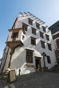 Historic building with shadows UNESCO World Heritage Site Cesky Krumlov South - stock photo