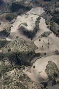 Aerial view barren landscape in the Sierra de Cadiz Andalusia Spain Europe - stock photo
