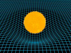Destortion of space time by the gravitation of the sun Stock Illustration