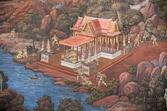 thai mural painting - stock photo